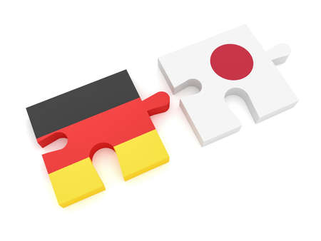 Germany Japan Partnership: German Flag And Japanese Flag Puzzle Pieces, 3d illustration on white background