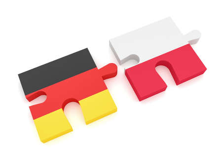 Germany Poland Partnership: German Flag And Polish Flag Puzzle Pieces, 3d illustration on white background Stock Photo