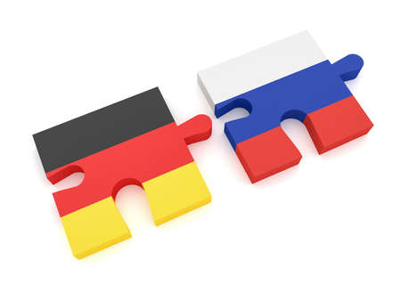 Germany Russia Partnership: German Flag And Russian Flag Puzzle Pieces, 3d illustration on white background