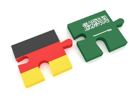 Germany Saudi Arabia Partnership: German Flag And Saudi Arabian Flag Puzzle Pieces, 3d illustration on white background Stock Photo