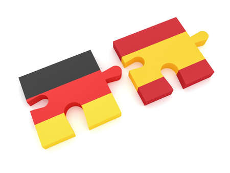 Germany Spain Partnership: German Flag And Spanish Flag Puzzle Pieces, 3d illustration on white background
