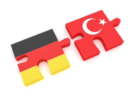 Germany Turkey Partnership: German Flag And Turkish Flag Puzzle Pieces, 3d illustration on white background