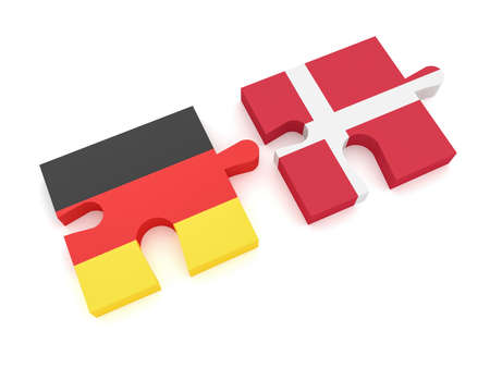 Germany Denmark Partnership: German Flag And Danish Flag Puzzle Pieces, 3d illustration on white background