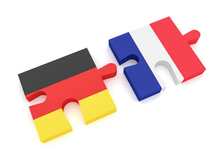 Germany France Partnership: German Flag And French Flag Puzzle Pieces, 3d illustration on white background Stock Photo