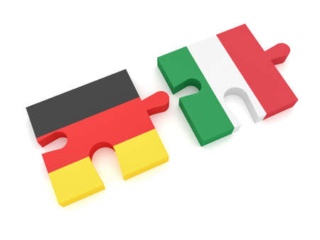 Germany Italy Partnership: German Flag And Italian Flag Puzzle Pieces, 3d illustration on white background Stock Photo