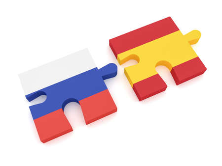 Russia Spain Partnership: Russian Flag And Spanish Flag Puzzle Pieces, 3d illustration on white background Stock Photo