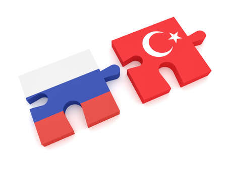Russia Turkey Partnership: Russian Flag And Turkish Flag Puzzle Pieces, 3d illustration on white background
