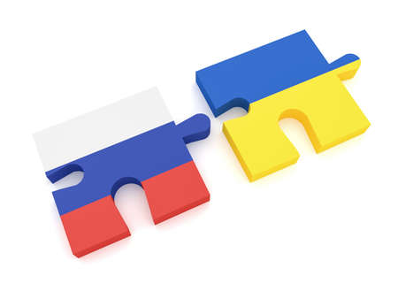 Russia Ukraine Partnership: Russian Flag And Ukrainian Flag Puzzle Pieces, 3d illustration on white background Stock Photo