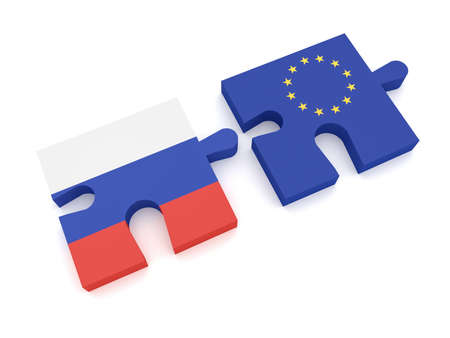 Russia European Union Partnership: Russian Flag And EU Flag Puzzle Pieces, 3d illustration on white background Stock Photo