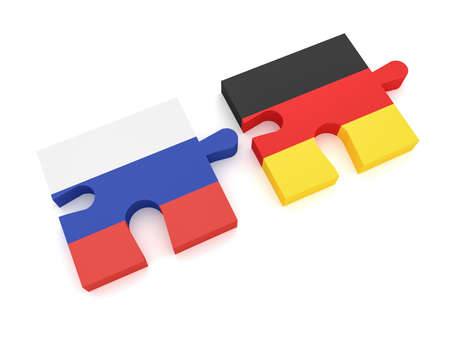 Russia Germany Partnership: Russian Flag And German Flag Puzzle Pieces, 3d illustration on white background