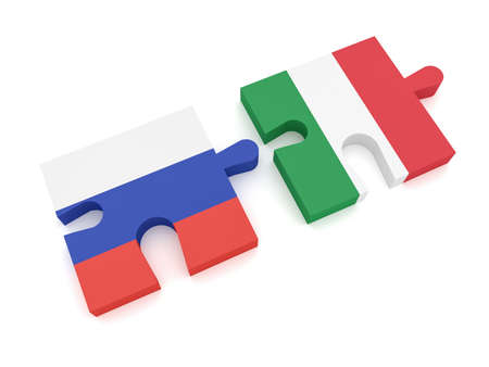 Russia Italy Partnership: Russian Flag And Italian Flag Puzzle Pieces, 3d illustration on white background