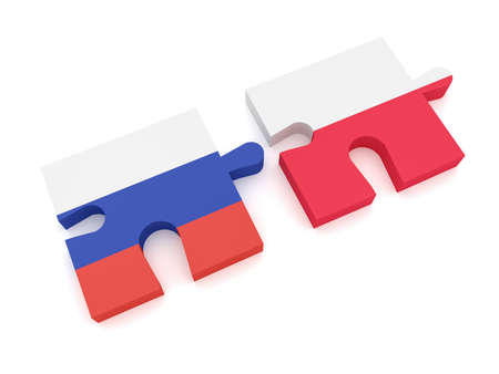 Russia Poland Partnership: Russian Flag And Polish Flag Puzzle Pieces, 3d illustration on white background