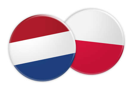 treaty: News Concept: Netherlands Flag Button On Poland Flag Button, 3d illustration on white background Stock Photo