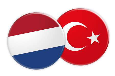 News Concept: Netherlands Flag Button On Turkey Flag Button, 3d illustration on white background