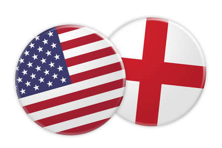 treaty: US News Concept: USA Flag Button On England Flag Button, 3d illustration on white background
