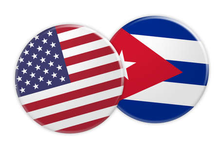 US News Concept: USA Flag Button On Cuba Flag Button, 3d illustration on white background