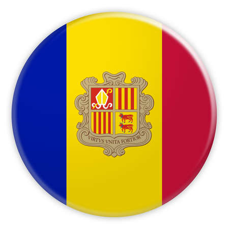 tourism in andorra: Andorra Flag Button, 3d illustration on white background Stock Photo