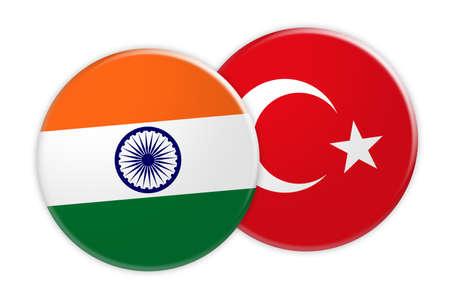 News Concept: India Flag Button On Turkey Flag Button, 3d illustration on white background