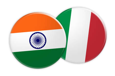 News Concept: India Flag Button On Italy Flag Button, 3d illustration on white background