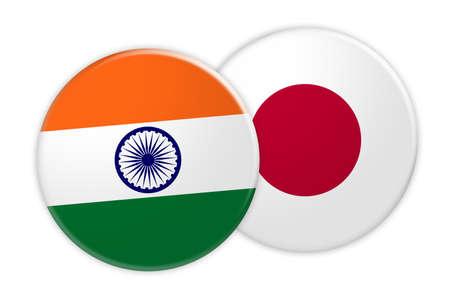bandera japon: Concepto de noticias: Botón de la bandera de la India en el botón de la bandera de Japón, ilustración 3d sobre fondo blanco