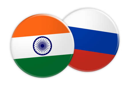 News Concept: India Flag Button On Russia Flag Button, 3d illustration on white background Stock Photo