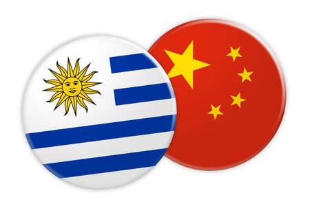 bandera de uruguay: News Concept: Uruguay Flag Button On China Flag Button, 3d illustration on white background