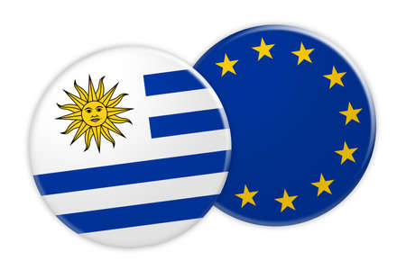 News Concept: Uruguay Flag Button On EU Flag Button, 3d illustration on white background Stock Photo