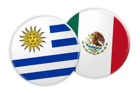 treaty: News Concept: Uruguay Flag Button On Mexico Flag Button, 3d illustration on white background