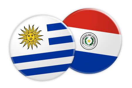 bandera de paraguay: Concepto de las noticias: Botón de la bandera de Uruguay en el botón de la bandera de Paraguay, ilustración 3d en el fondo blanco