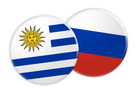 News Concept: Uruguay Flag Button On Russia Flag Button, 3d illustration on white background