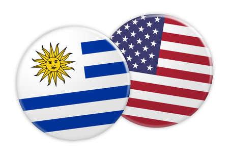 bandera de uruguay: Concepto de las noticias: Botón de la bandera de Uruguay en el botón de la bandera de EE. UU., Ilustración 3d en el fondo blanco Foto de archivo