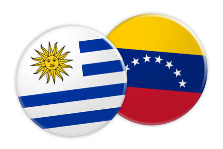 bandera de uruguay: News Concept: Uruguay Flag Button On Venezuela Flag Button, 3d illustration on white background