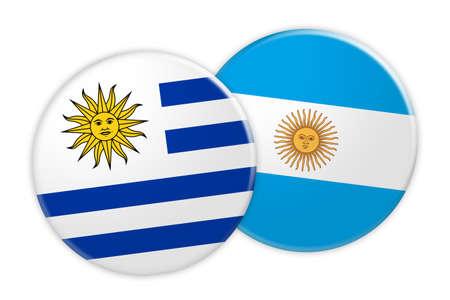 bandera de uruguay: News Concept: Uruguay Flag Button On Argentina Flag Button, 3d illustration on white background Foto de archivo