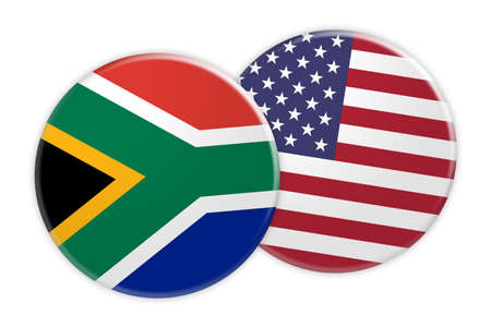 News Concept: South Africa Flag Button On US Flag Button, 3d illustration on white background