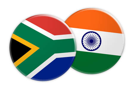 News Concept: South Africa Flag Button On India Flag Button, 3d illustration on white background