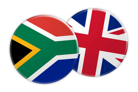 News Concept: South Africa Flag Button On UK Flag Button, 3d illustration on white background Stock Photo