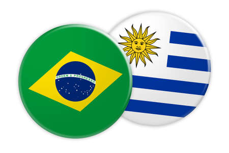 News Concept: Brazil Flag Button On Uruguay Flag Button, 3d illustration on white background Stock Photo