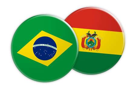 Concepto de noticias: Botón de la bandera de Brasil en el botón de la bandera de Bolivia, ilustración 3d sobre fondo blanco