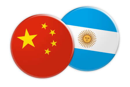 News Concept: China Flag Button On Argentina Flag Button 3d illustration on white background Stock Photo