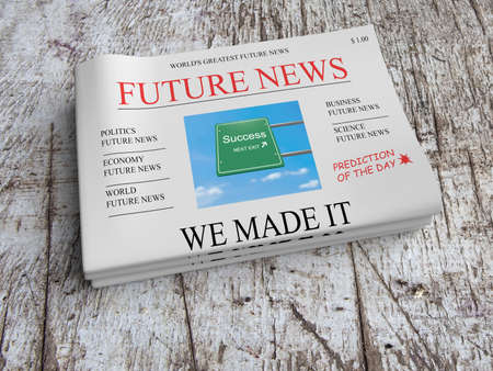 Future News Newspaper Business Concept: Success - We Made It, 3d illustration