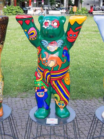 BERLIN, GERMANY - JULY 3, 2017: United Buddy Bears: Poland Bear At Wittenbergplatz Square In Berlin