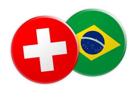 News Concept: Switzerland Flag Button On Brazil Flag Button, 3d illustration on white background Stock Photo