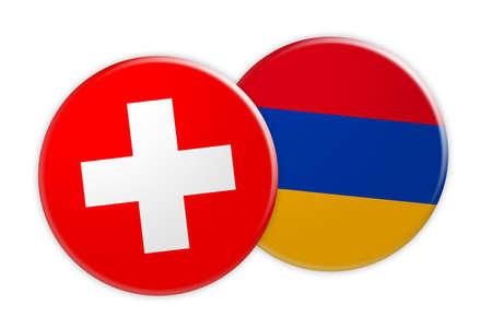 armenian: News Concept: Switzerland Flag Button On Armenia Flag Button, 3d illustration on white background