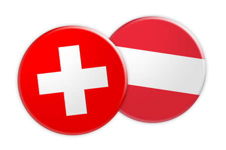 News Concept: Switzerland Flag Button On Austria Flag Button, 3d illustration on white background Stock Photo