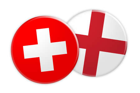 treaty: News Concept: Switzerland Flag Button On England Flag Button, 3d illustration on white background
