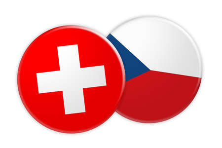 News Concept: Switzerland Flag Button On Czech Republic Flag Button, 3d illustration on white background