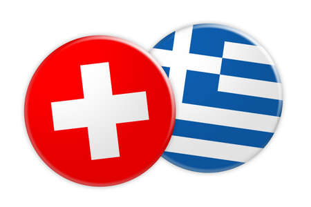 rival: News Concept: Switzerland Flag Button On Greece Flag Button, 3d illustration on white background