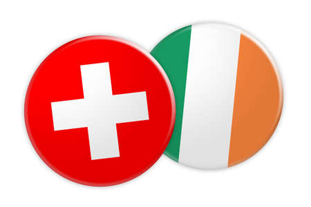 News Concept: Switzerland Flag Button On Ireland Flag Button, 3d illustration on white background Stock Photo