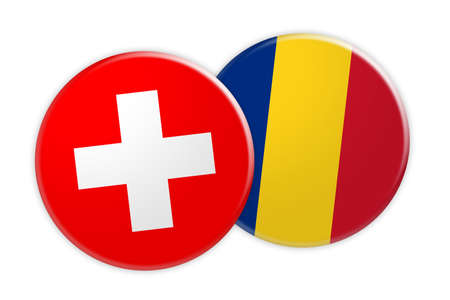 News Concept: Switzerland Flag Button On Romania Flag Button, 3d illustration on white background Stock Photo