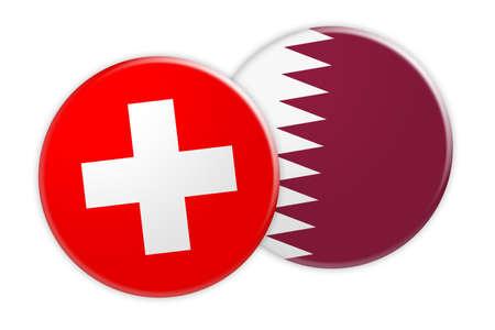 News Concept: Switzerland Flag Button On Qatar Flag Button, 3d illustration on white background Stock Photo